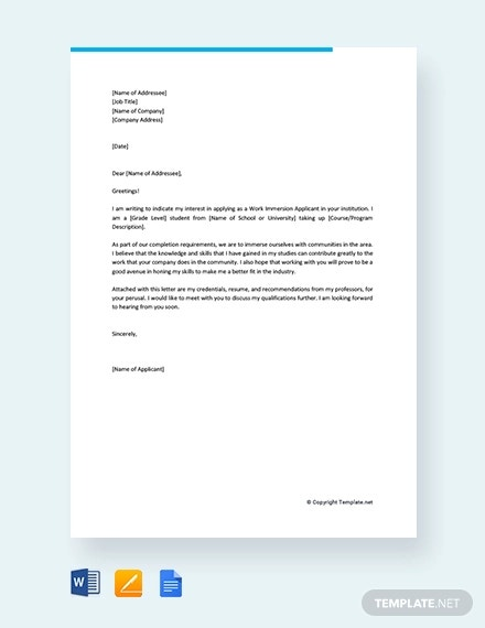 14 Work Application Letters Template Free Word PDF Format