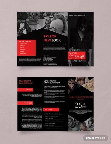 free barbershop a3 tri fold brochure template