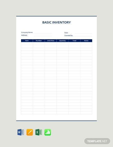 free basic inventory template