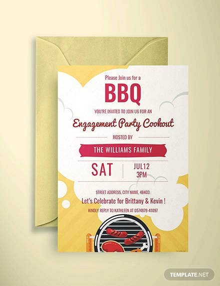 free bbq engagement party invitation