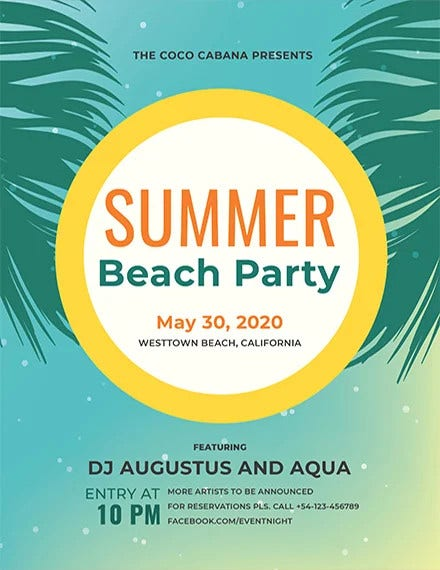 free beach party flyer