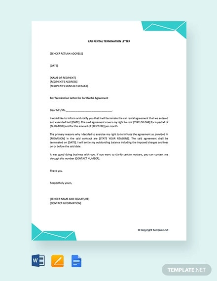 free car rental termination letter