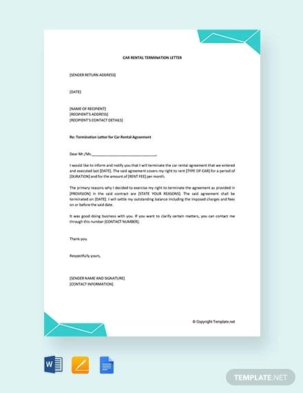 free car rental termination letter