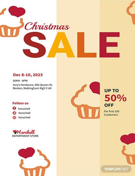 free christmas bake sale flyer template