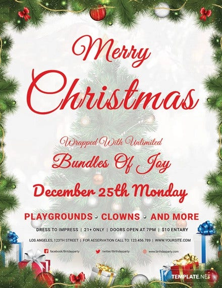 free christmas invitation flyer template