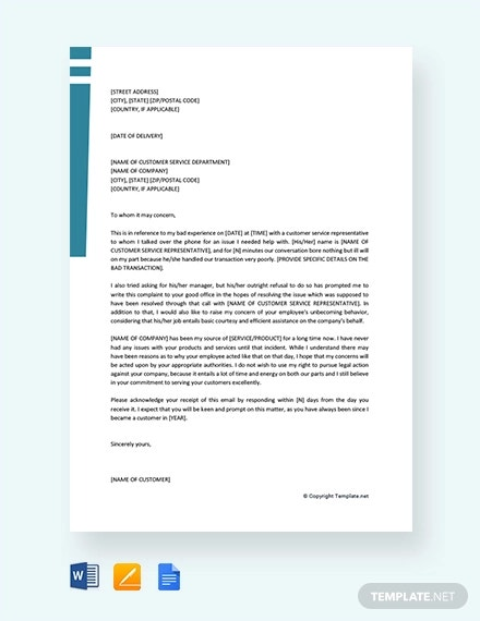 free customer service complaint letter