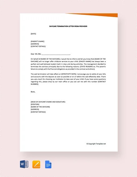 Daycare Termination Letter Templates - 15+ Free Sample, Example