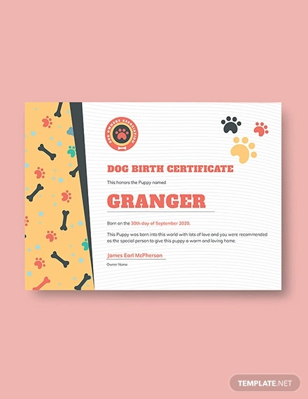 free dog birth certificate template