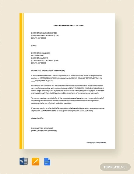free employee resignation letter to hr