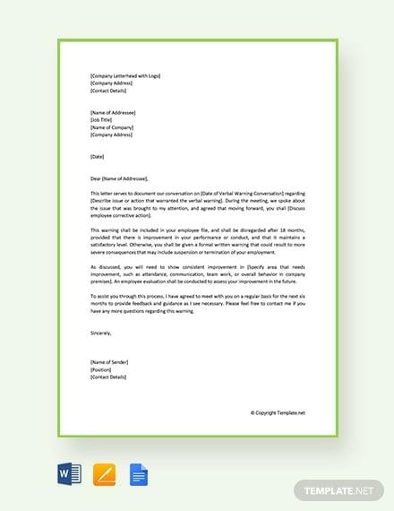 free employee verbal warning letter