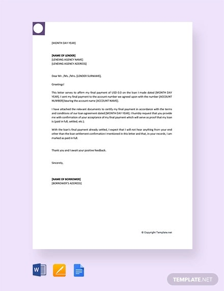 fre final payment letter