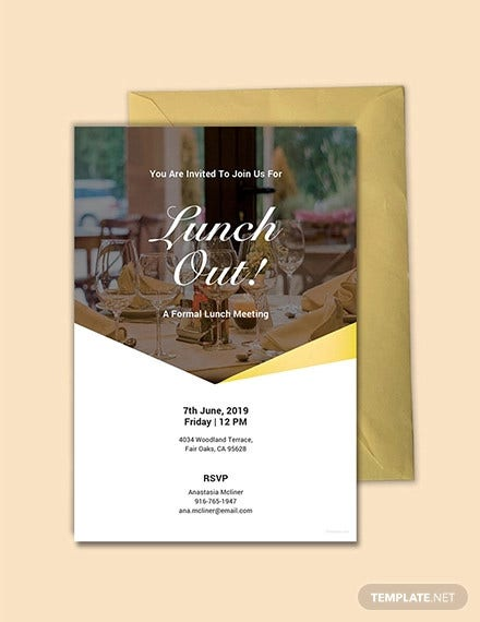 free formal lunch invitation template