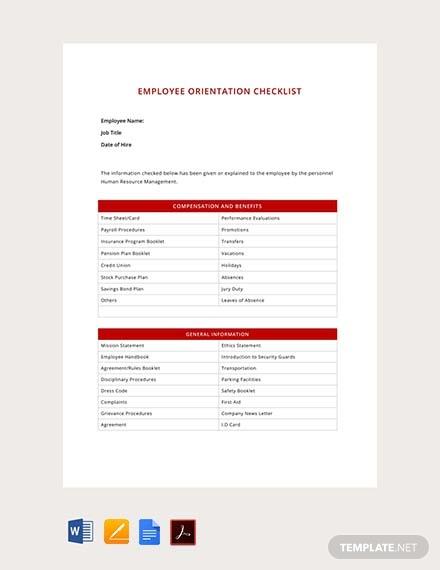 free hr employee orientation checklist template