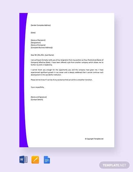 free immediate resignation letter for new job