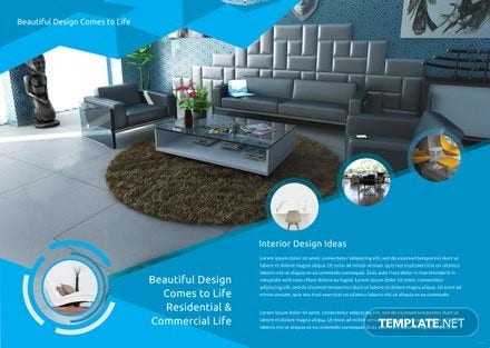 free interior decor bi fold brochure template