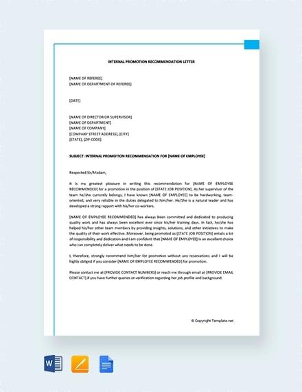 14+ Promotion Recommendation Letters | Free & Premium Templates