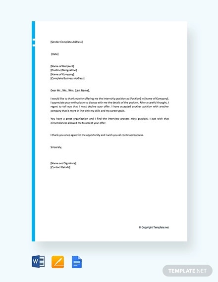 free internship offer rejection letter