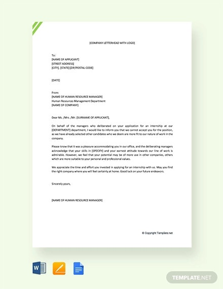 free internship rejection letter