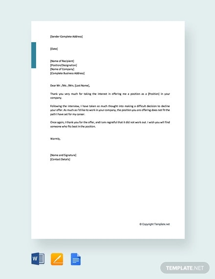 free job refusal letter after interview