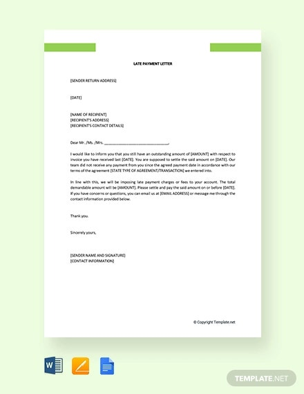 11+ Late Payment Letter Templates - Word, Google Docs, Pages