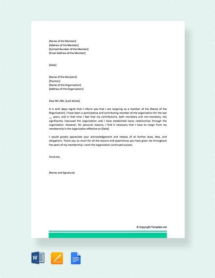 Membership Resignation Letters 10 Free Sample Example Format