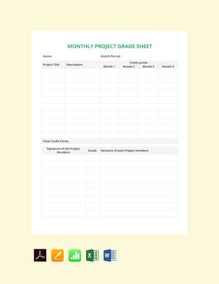 free monthly grade sheet template