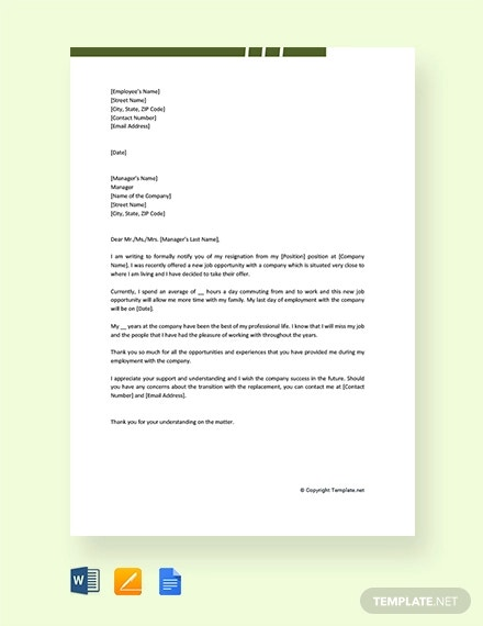 free new job resignation letter