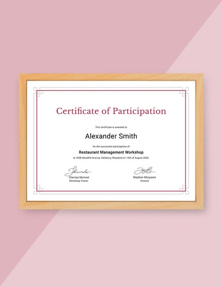 free participation certificate