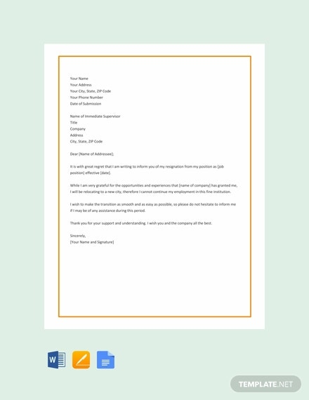 free relocation resignation letter template1