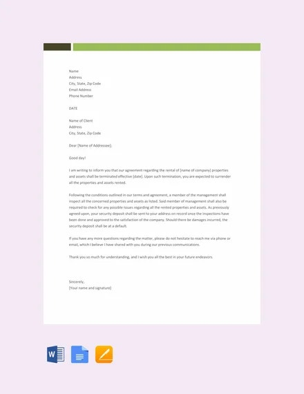 free rental termination letter template