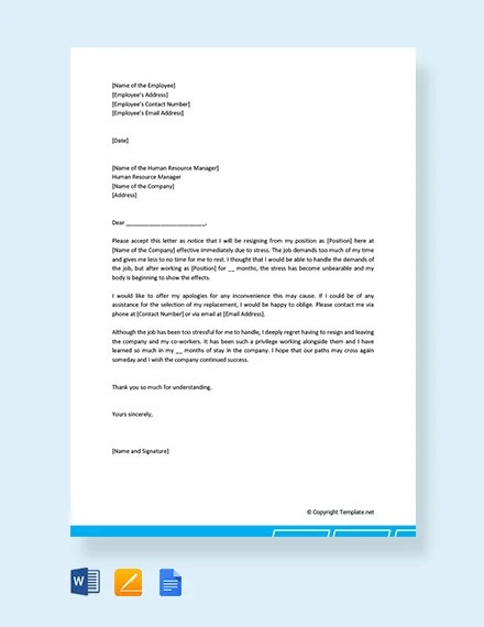 free resignation letter because of stress