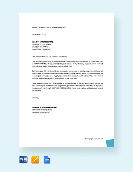 13+ Resignation Letter Due to Stress Template - PDF, Word