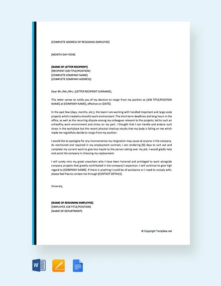free resignation letter due to stressful work environment