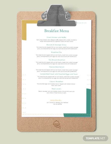 free sample breakfast menu template
