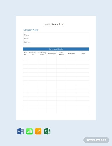free simple inventory list template