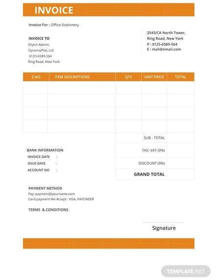 free standard invoice template