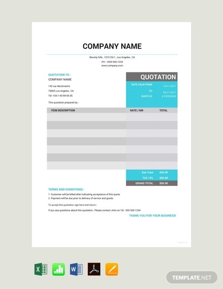 free taxi quotation template 440x570 1
