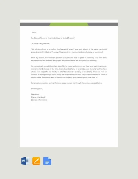 11 Rental Reference Letter Templates Word Pdf Apple Pages Free Premium Templates