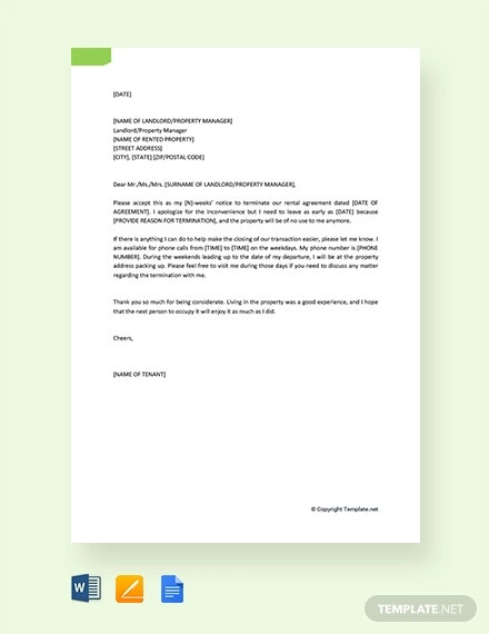 free termination of rental agreement letter by tenant