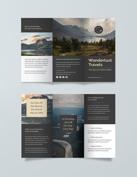 free travel trifold brochure template 1x