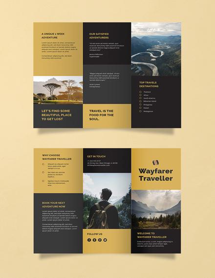 free tri fold travel brochure template 1x