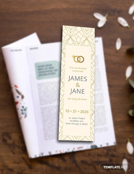 free wedding bookmark template