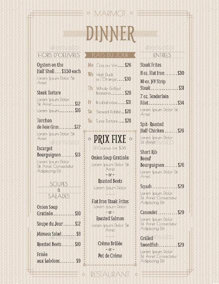 french cafe food menu design