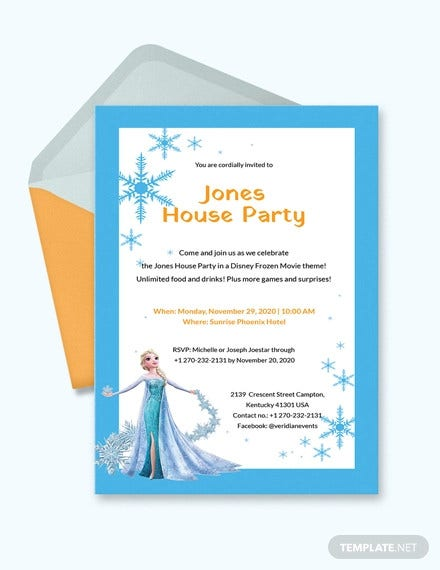 frozen party invitation template