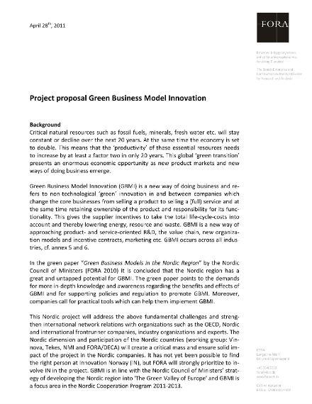 green business model innovation proposal