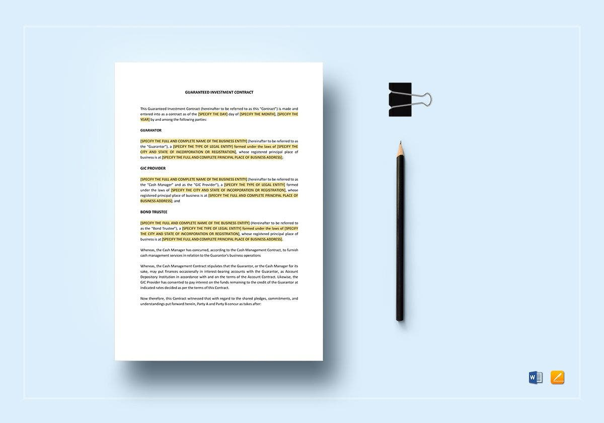 guaranteed investment contract template