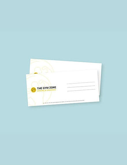 gym envelope template in word