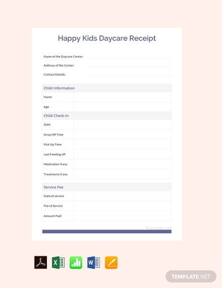happy kids daycare receipt template