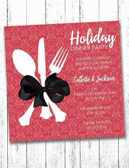 holiday dinner party invitation design