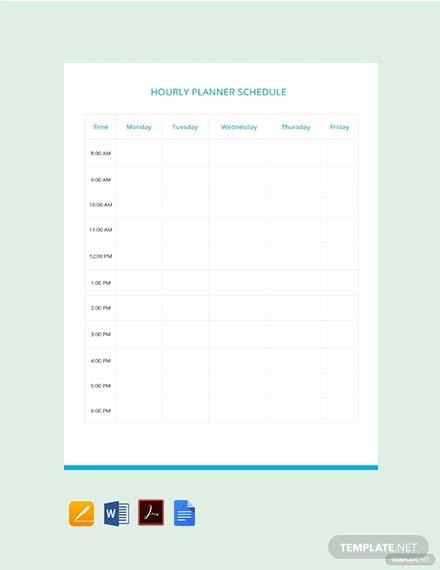 hourly planner schedule template